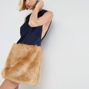 NEW ASOS fur mini skirt dress